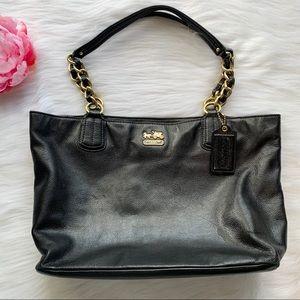 Coach Madison 20466 black leather shoulder purse